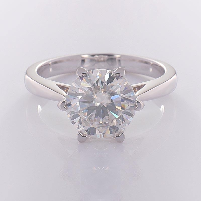 Classic 6-prongs 18k white gold solitaire 3CT moissanite engagement ring