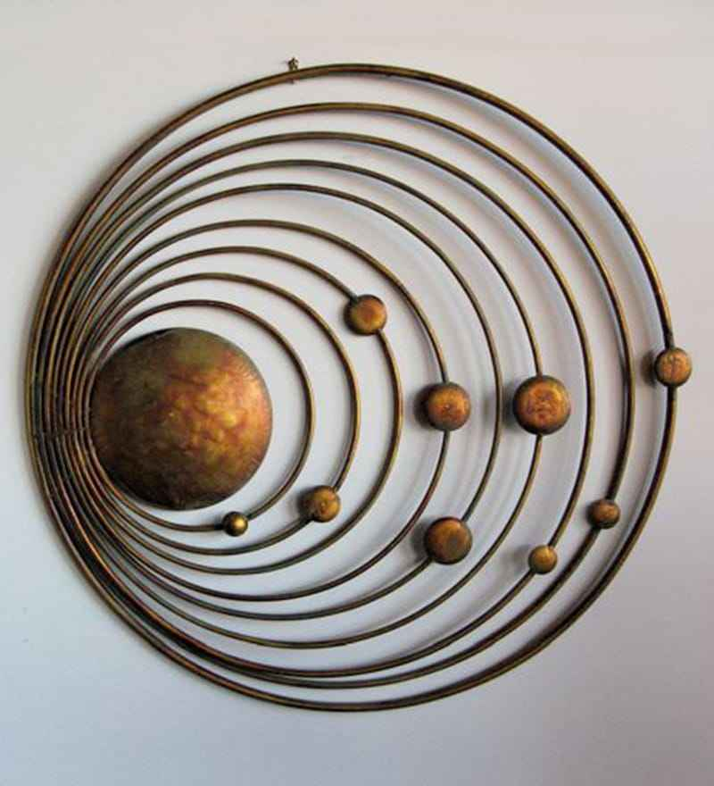 antique copper metal solar system of sun 9 planets wall art
