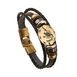 Hot Sell British Style Punk Adjustable Macrame 12 Constellations Multi-layer Leather Bracelet For Party