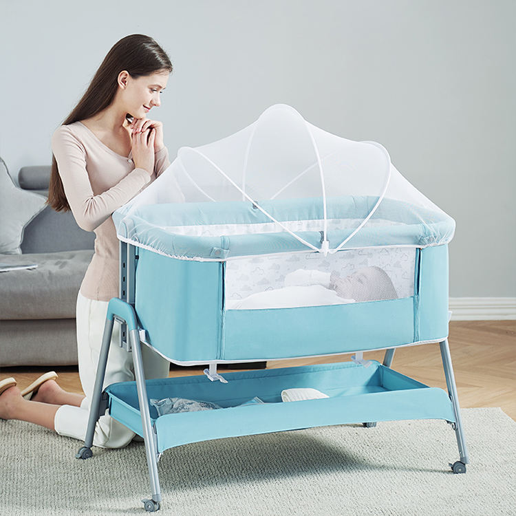 Portable baby Bed Adjustable Bedside bassinet Baby Crib connected to partner's Baby Cribs Bedside Bed