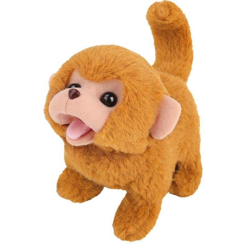 Customized Plush Monkey Toy With Functions Batteries Operated Walking Making Sounds Wagging Tail Plush Animal Toy For Kids'
