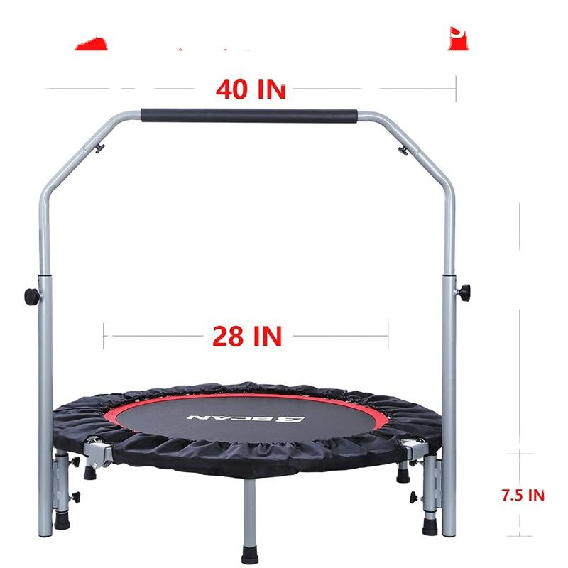 "40"" Foldable Trampoline Mini Exercise Rebounder with Adjustable Foam Handle Great for Body Fitness Training Indoor/Garden/Workou"