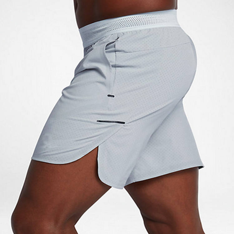 "Pure Platinum 8"" inseam comfort workout mens short; dry&cool adjustable fit training custom shorts men"