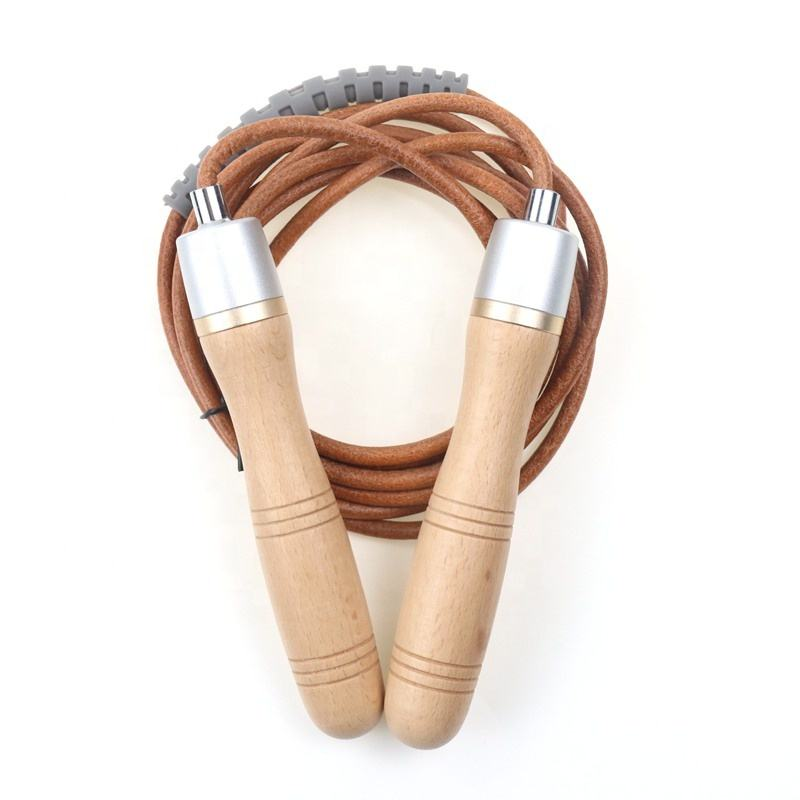 High Quality Private Label Custom Logo Fitness Gym Training Power Weighted Bearing Leather Wood Handle Adjustable Skip Jump Rope