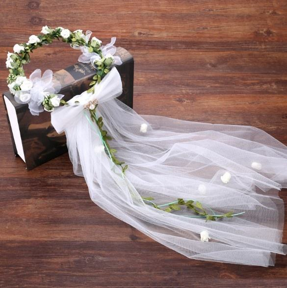 High discount flower girls wedding tiara and crowns with long veil