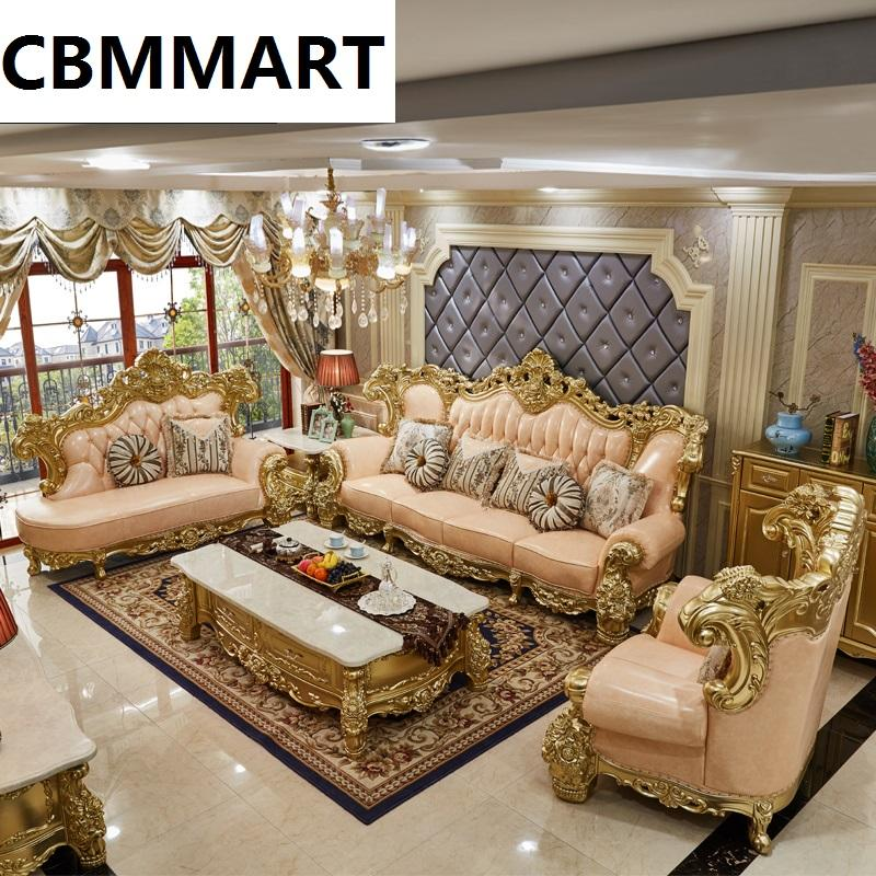 New european classic style living room furniture living room sofas set leather genuine leather sofas