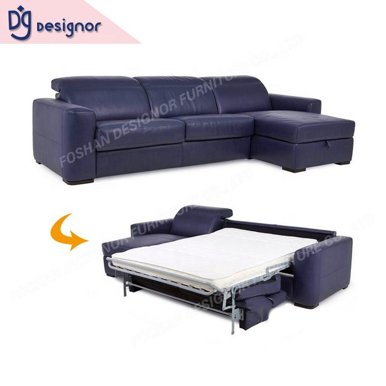 DG Blue Leather Corner Alibaba Multi-Purpose Italian Sofa Bed With Reclining Headrest
