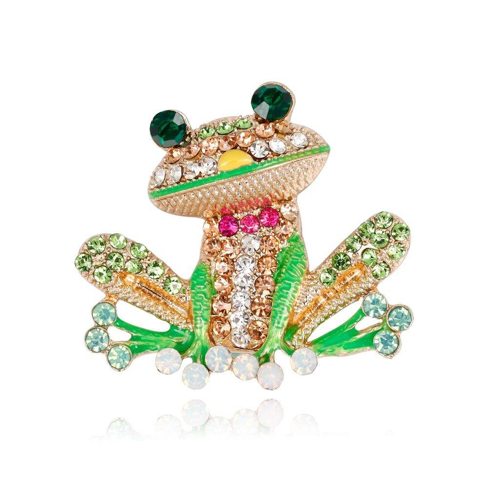 High Quality Lovely Alloy Rhinestone Animal Brooch Girl's Frog Brooches Pins