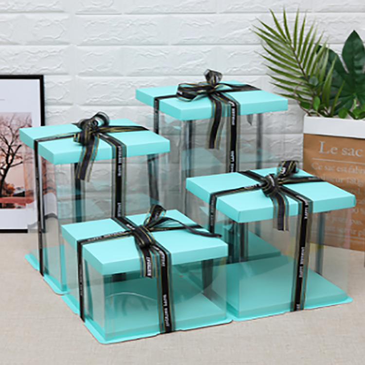 Custom Logo White Clear Square Tall Transparent Cake Box Wedding Birthday Party Gift Box