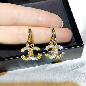 HOVANCI Modis Kristal Zirconia CC GG Anting-Anting Wanita Gaya Perancis Bling Berlian Imitasi S925 Jarum 18K Emas Drop Anting-Anting