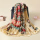 Fashion printed polyester square scarf shawl for spring summer autumn