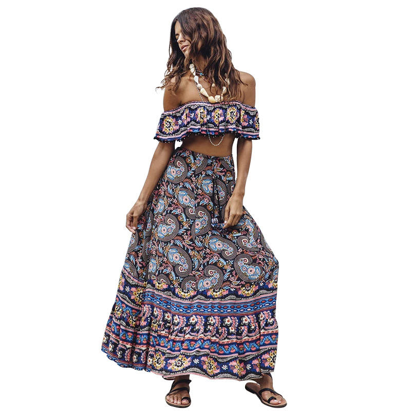 HJ Trendy lady clothing off shoulder beach summer maxi floral dress boho bohemian women casual nude ruffle dresses