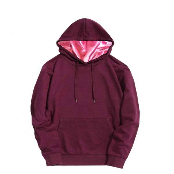 Wholesale Kangaroo Pocket Fleece Pull Over Satin Lined Hoodie
