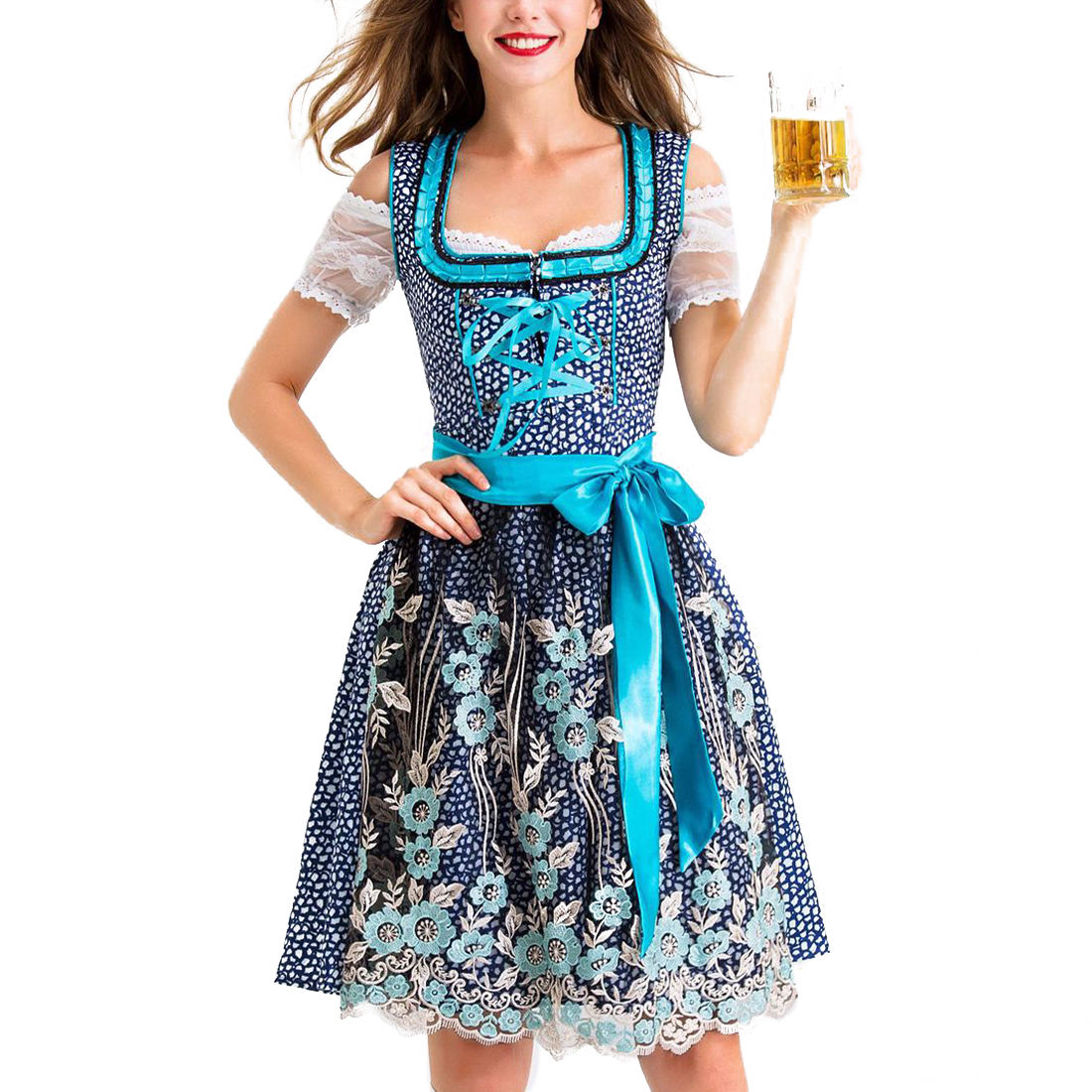 Women Bavarian Ethnic Traditional Costume Polyester Red German Beer Festival Maid Clothing