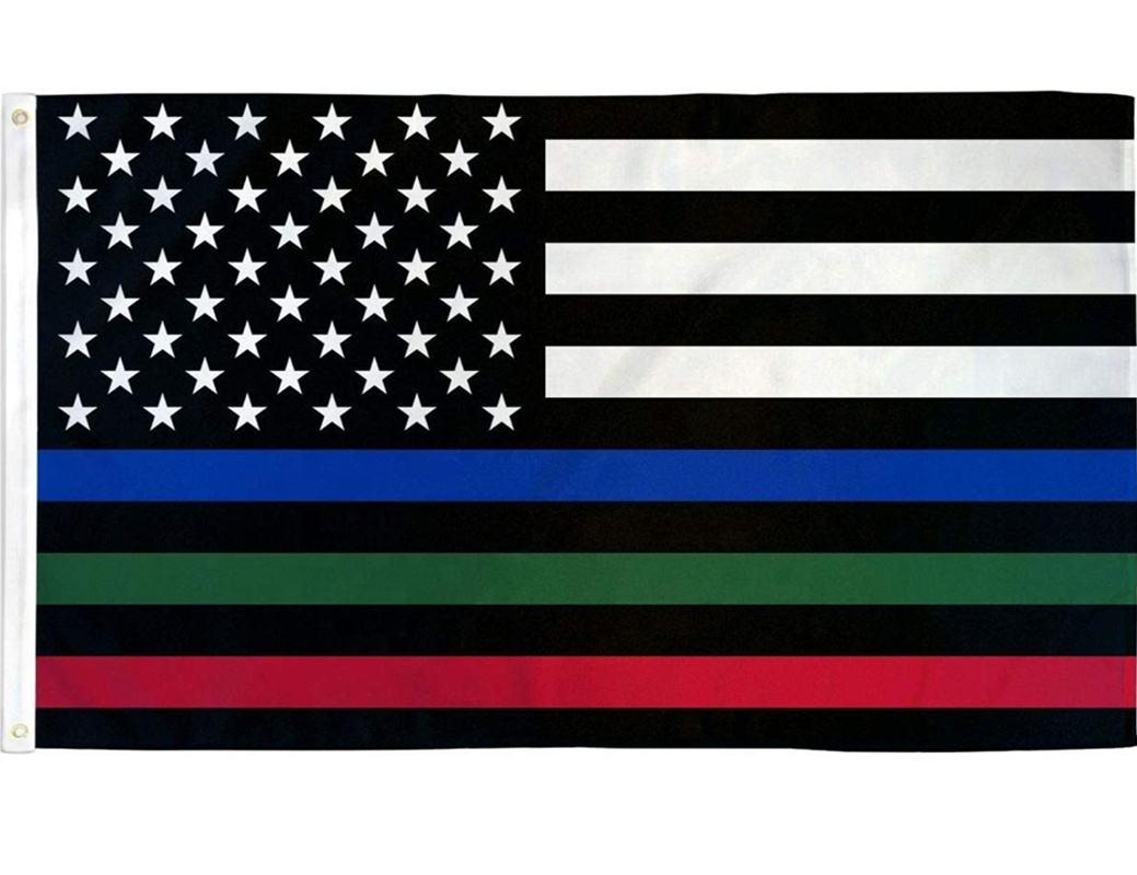 Ready To Ship Thin Blue Green And Red Line American Us Flag Patriotic Usa Honoring Police Military And Fire Officers Flag