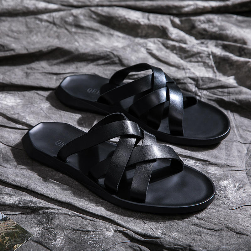 High Quality New Designs Summer Rubber +Microfiber Leather man sandals casual