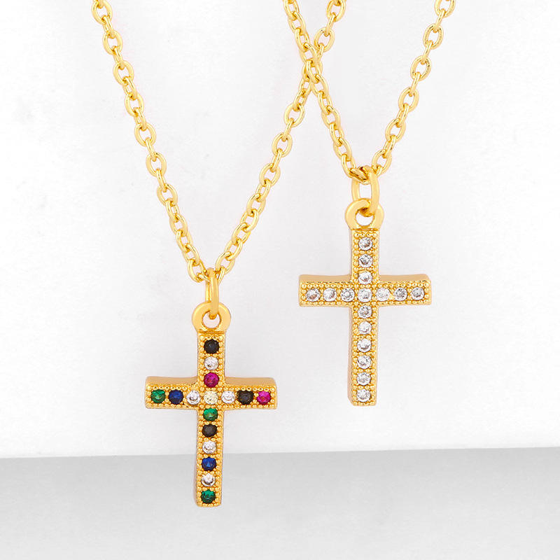 Classic Design Christian 18k Gold Plated Cubic Zircon CZ Micro Paved Rhinestone Cross Pendant Necklace