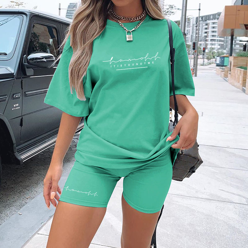 HG2731 New Letter Print T-Shirt Casual Sports Zweiteiliges Set Custom Trainings anzug Einfarbige Damen Outfits Kurzarm Biker Shorts