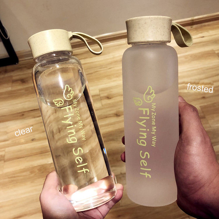 suatainable Wheat Straw Fiber Eco frosted/clear glass drink bottle water for juice custom sticker label bpa free