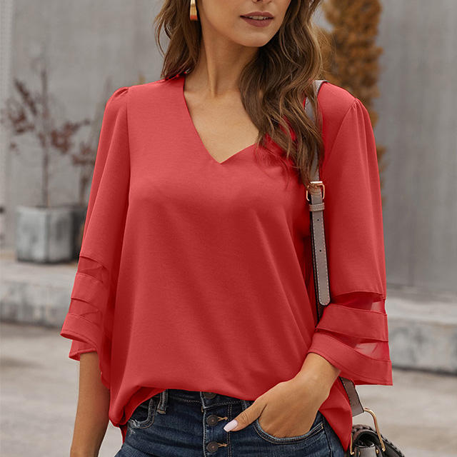 MENGMUGE Spring Summer Women's Casual V-Neck Blouse 3/4 Bell Sleeve Flare Sleeve Mesh Panel Shirts Loose Top Tunics Blouse Women