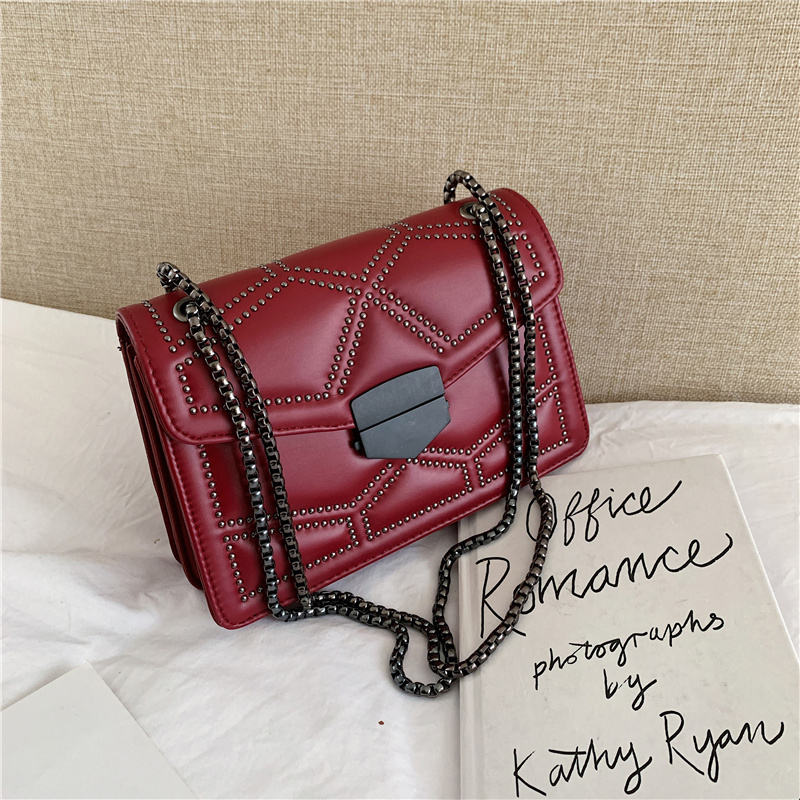 2020 high quality wholesale wild rivet bag lady messenger chain shoulder pu leather small bag for women