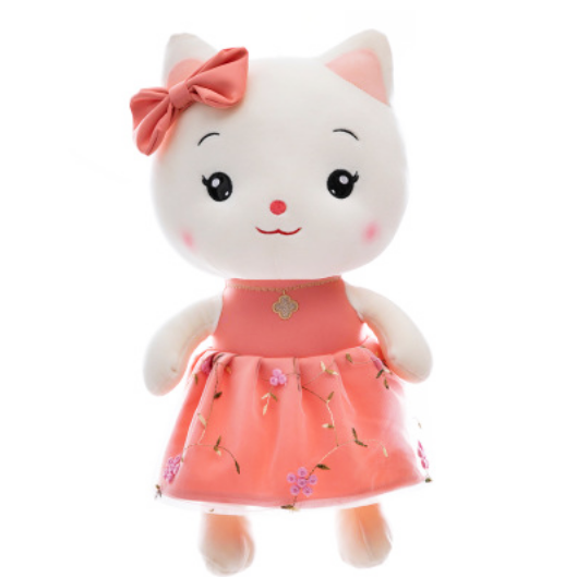 Beautiful white lifelike kitten plush toy bowknot Xinchang custom cute children smile fill animal soft plush toy cat