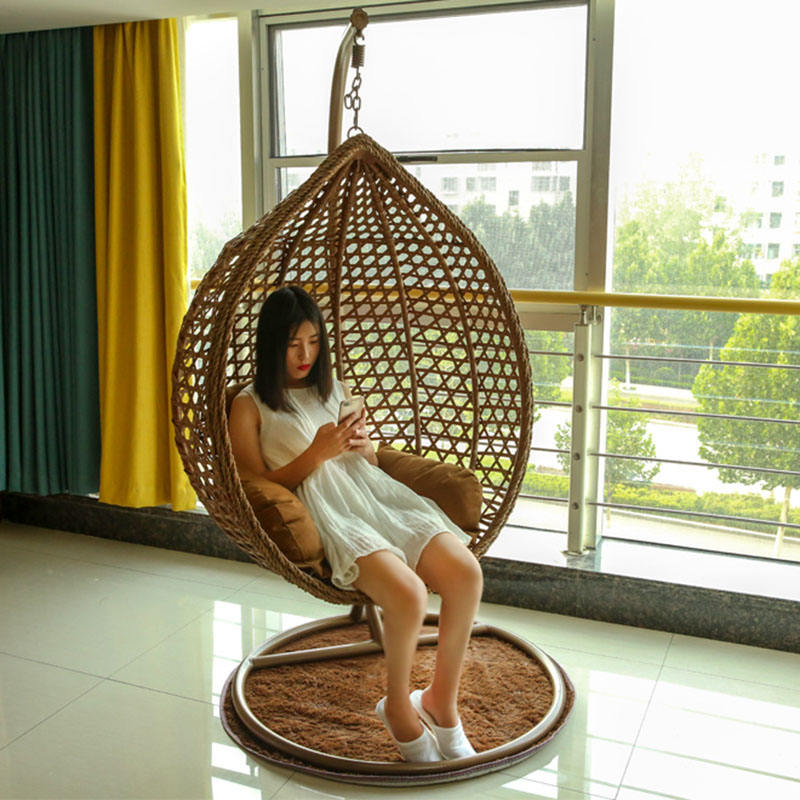 Double Seat Living Room Garden Furniture Swing Chair Outdoor Rattan Wicker Patio Hanging Swing Egg Chair