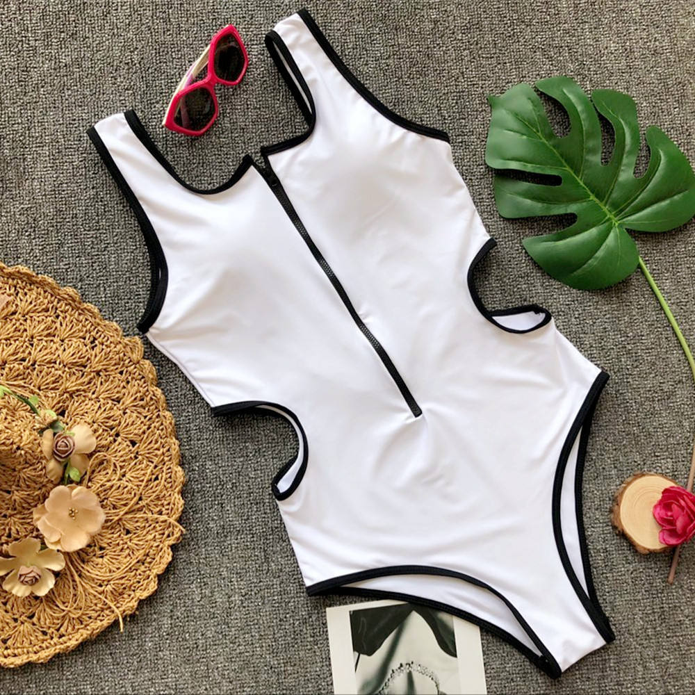Solid Front Zipper One Piece Swimsuit Women Push Up Swimwear Bathing Suits Brazilian Bodysuit High Cut Monokini Bikini