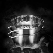 Stainless Steel Kitchenware Steamer Double Boiler With Glass Cover