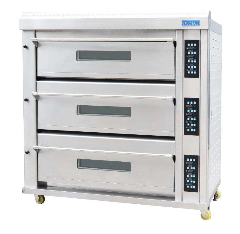 HOMAT Ready to Ship commercial or household bread cake biscuit baguette and pizza baking 3decks 12trays electric deck oven