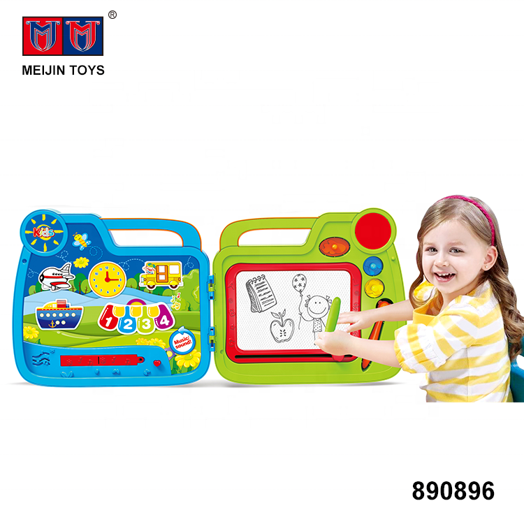 suitcase 2 in 1 electric toys kids doodle board drawing with music sound
