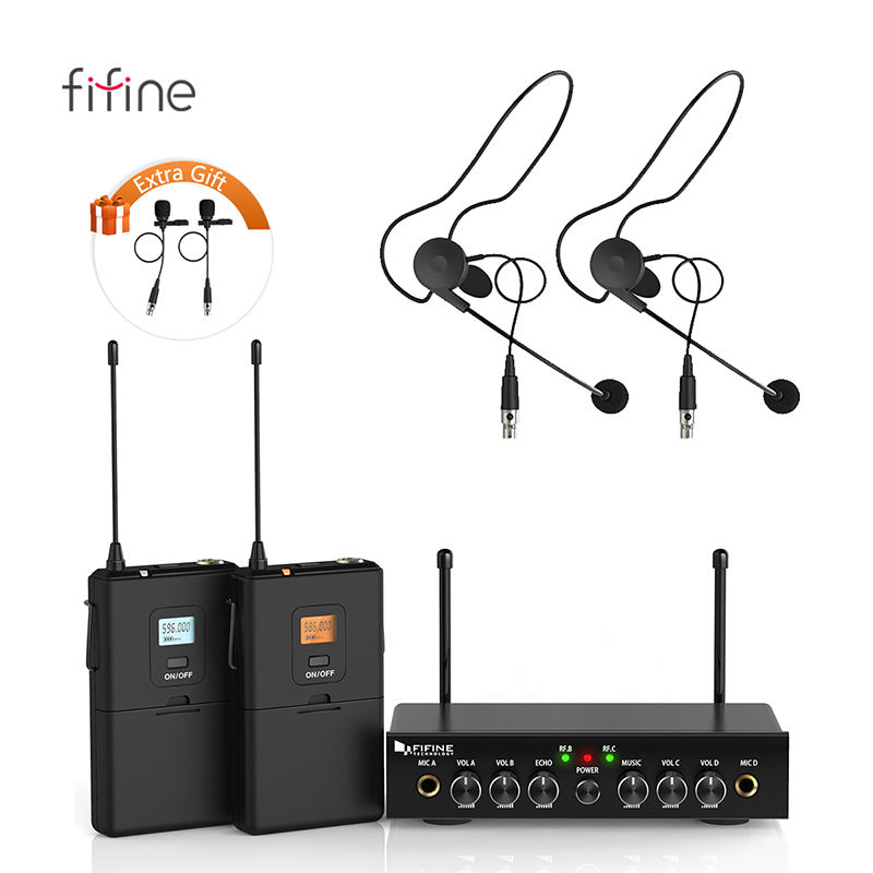 Fifine Wholesale UHF Vocal Wireless Microphone System Ideal for Conference, Stage performance Wireless Lapel/Tie-Clip Mic K038