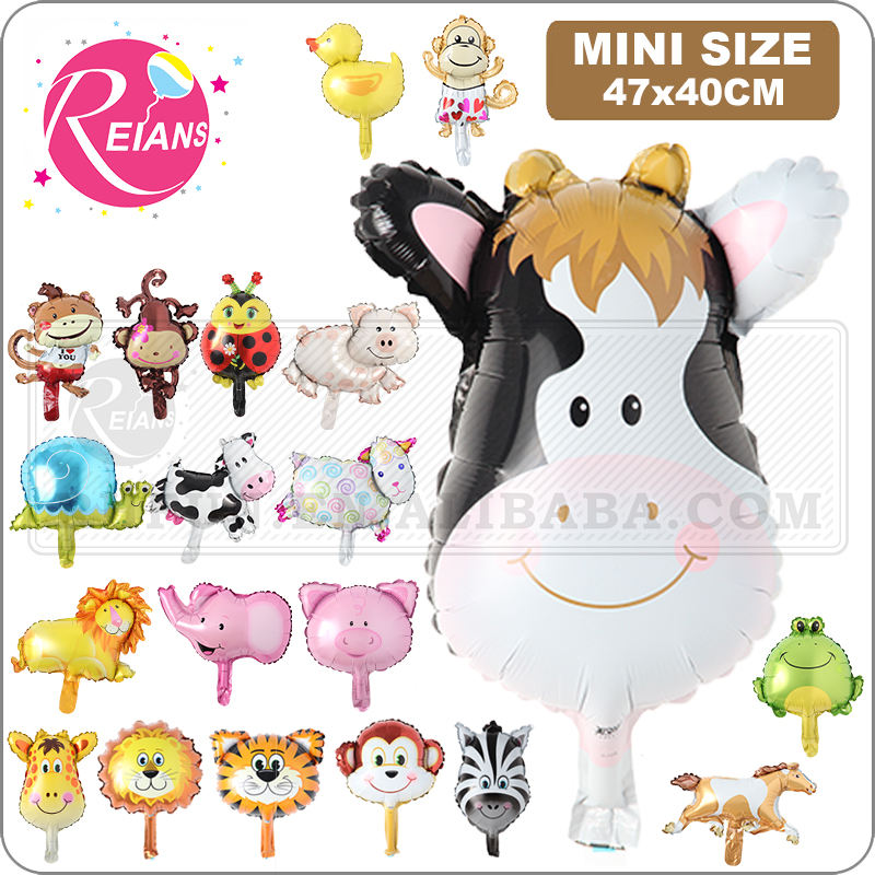 Mini Animal Head Foil Balloon, Safari Zoo Handheld Inflatable Air Ballon Baby Shower Happy Birthday Party Decorations Kids Gifts