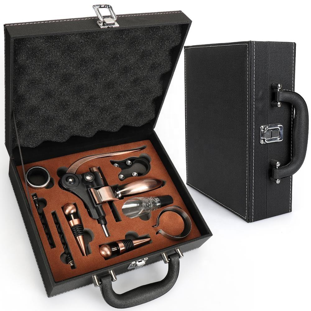 Leather box wine opener corkscrew wine accessories gift set for Birthday Wedding Christmas