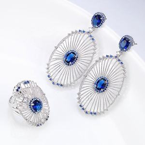 CZ Jewelry Sets India Wholesale Zircon Rings Earrings Jewelry Party Gift
