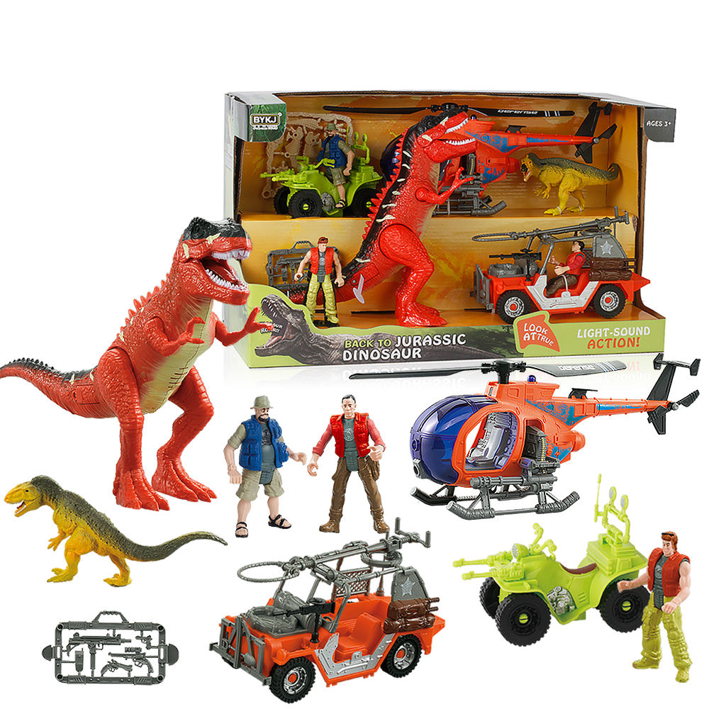 Back To Jurassic 10 PCS Dinosaur Toy Set With Action Figure & Toy Helicopter