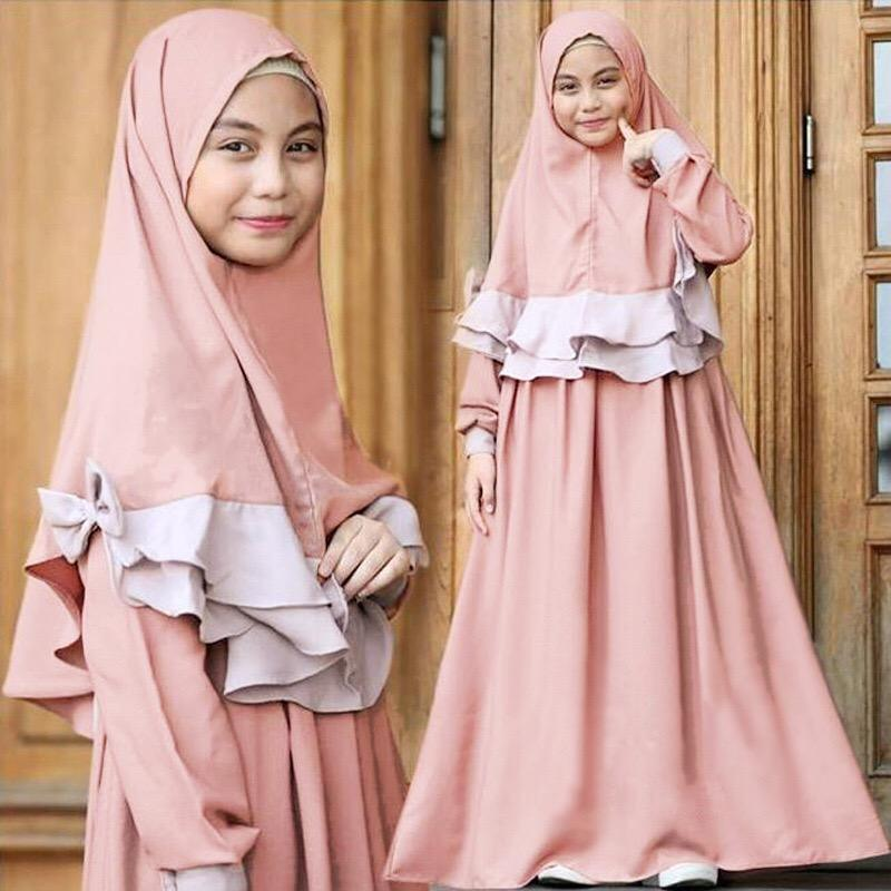 Wholesale toddler 2020 solid muslim girl abaya hijabs and Dress prayer clothing Islam abaya
