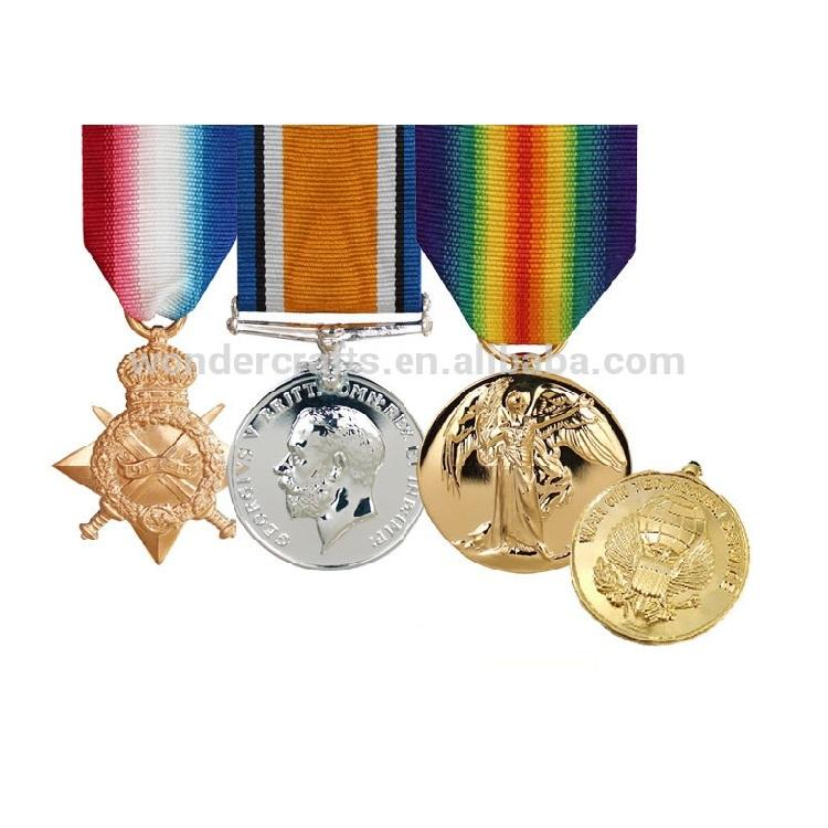 custom medals and trophies , gold silver bronze plated medals 3d debossed red copper british ww1 war military medals for sale