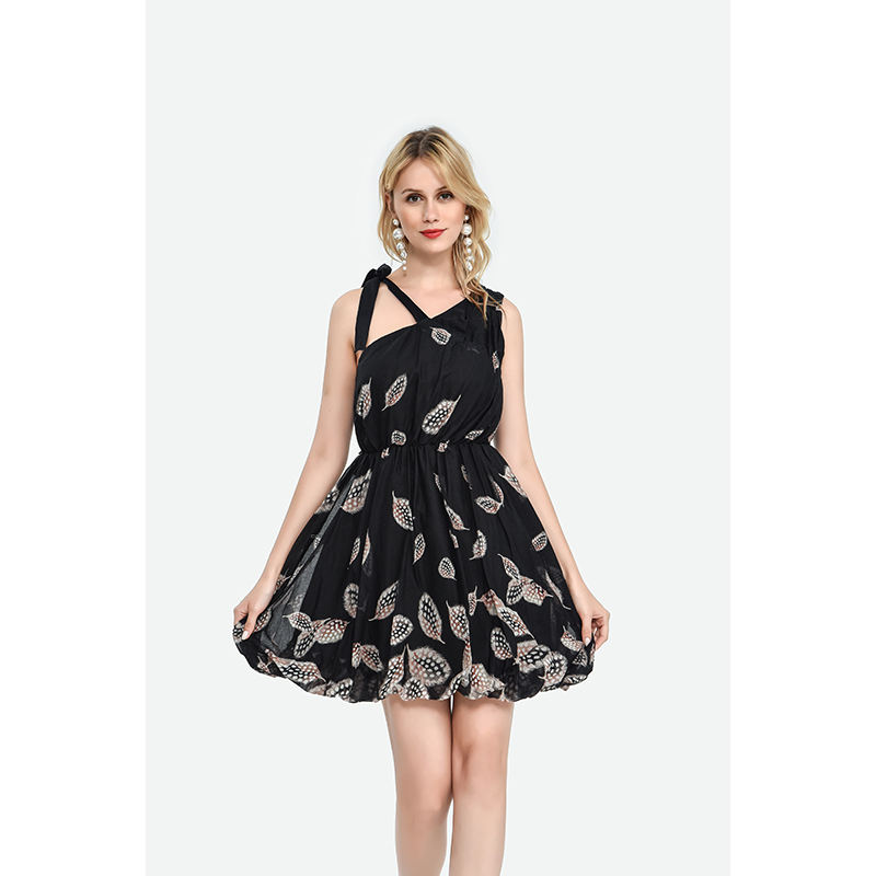 100% cotton one shoulder leaf feathers printed bow black prom dress for lady