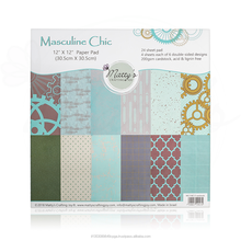 Teal Blue, Turquoise, Masculine Chic Scrapbooking paper pad