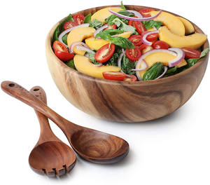 Acacia Wood Salad Bowl with Servers Set Solid Hardwood Salad Wooden Bowl with Spoon for Fruits Salads