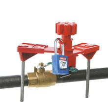 Lock out all types of valves with a single universal device Versatile open-ended clamp fits over most closed rings handles