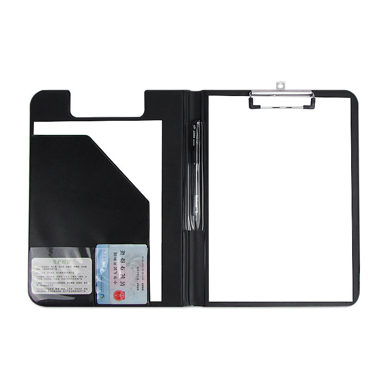 stationery PU leather PVC plastic A4 foldable nurse storage notebook clip board clipboard with pen holder pockets