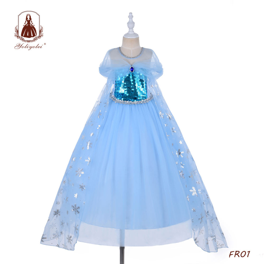 Fashion 4-12 Years Old Blue Sequins Top Long Party Cosplay Elsa&Anna Girls Dress With Sapphire And Thin Cloak