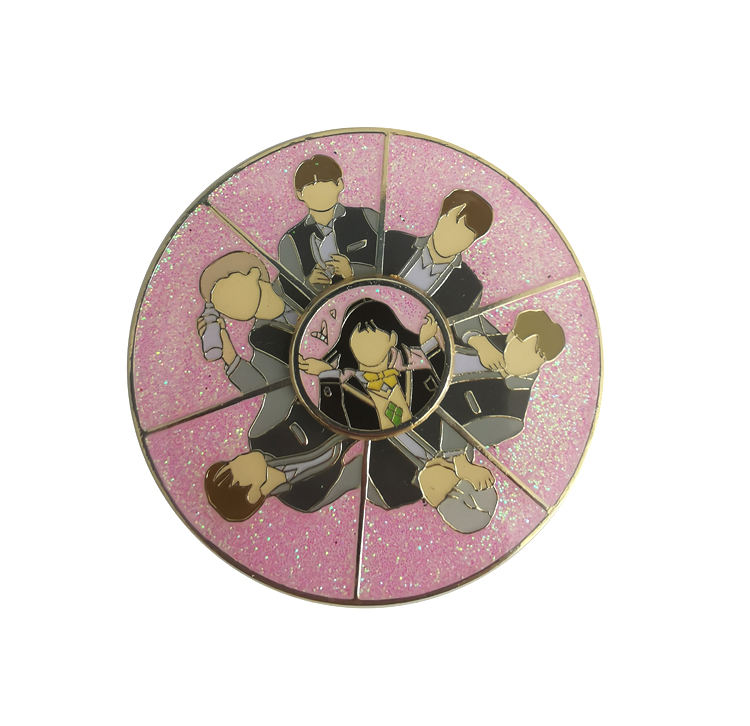 BTS Spinner Enamel Pin Metal Glitter Lapel Pin