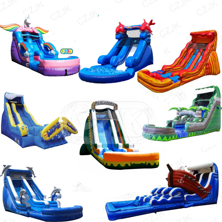 high quality clearance popular inflatable water slide with swimming pool