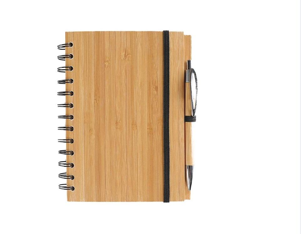 Ecoy Hot Sale Eco-friendy Custom Logo Wooden Bamboo Cover Spiral Notebook with Ball Pen for Gift