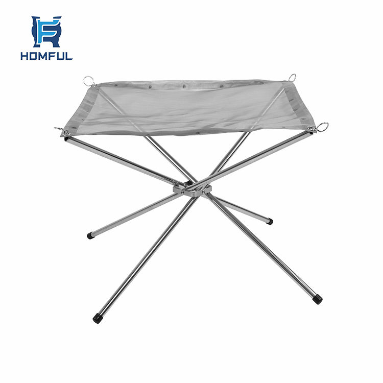 HOMFUL Portable Folding Stove Fire Frame Camping Wood Burning Grill Heater with Stainless Steel Net