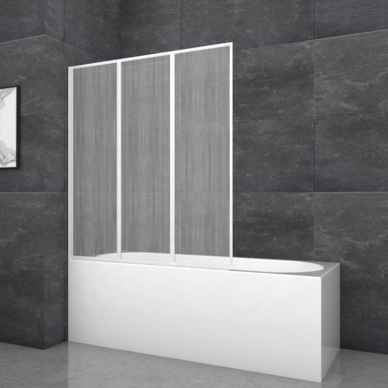 Cheap PS Plastic Bath Screen 3 Panel Folding Bathtub Shower Door