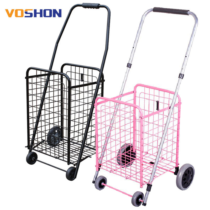 Fashion cheap collapsible wheeled trolley portable folding shopping trolleys seat foldable supermarket carts hand cart